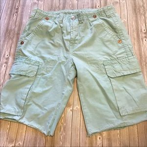 True Religion Isaac Cargo Cut Off Shorts Sz 34